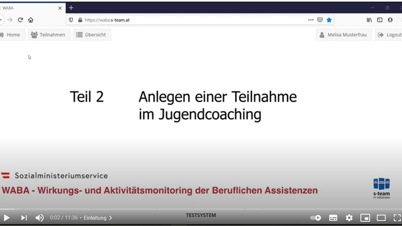 Teil 2 Anlegen einer Teilnahme im Jugendcoaching, © BundesKOST