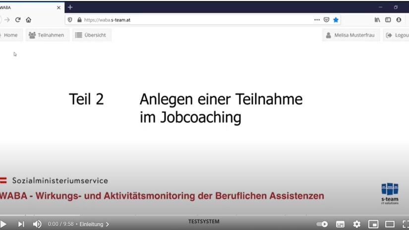 Teil 2 Anlegen einer Teilnahme im Jobcoaching, © BundesKOST